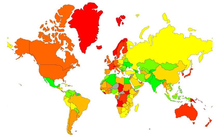 Карта стоимости жизни и средних цен в мире